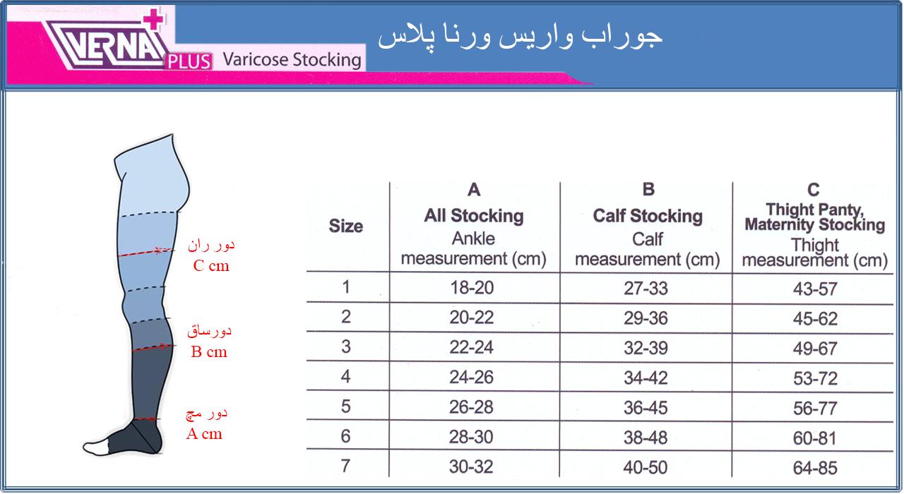 لیست قیمت جوراب بارداری و واریس ورنا پلاس ATP کلاس CCL2