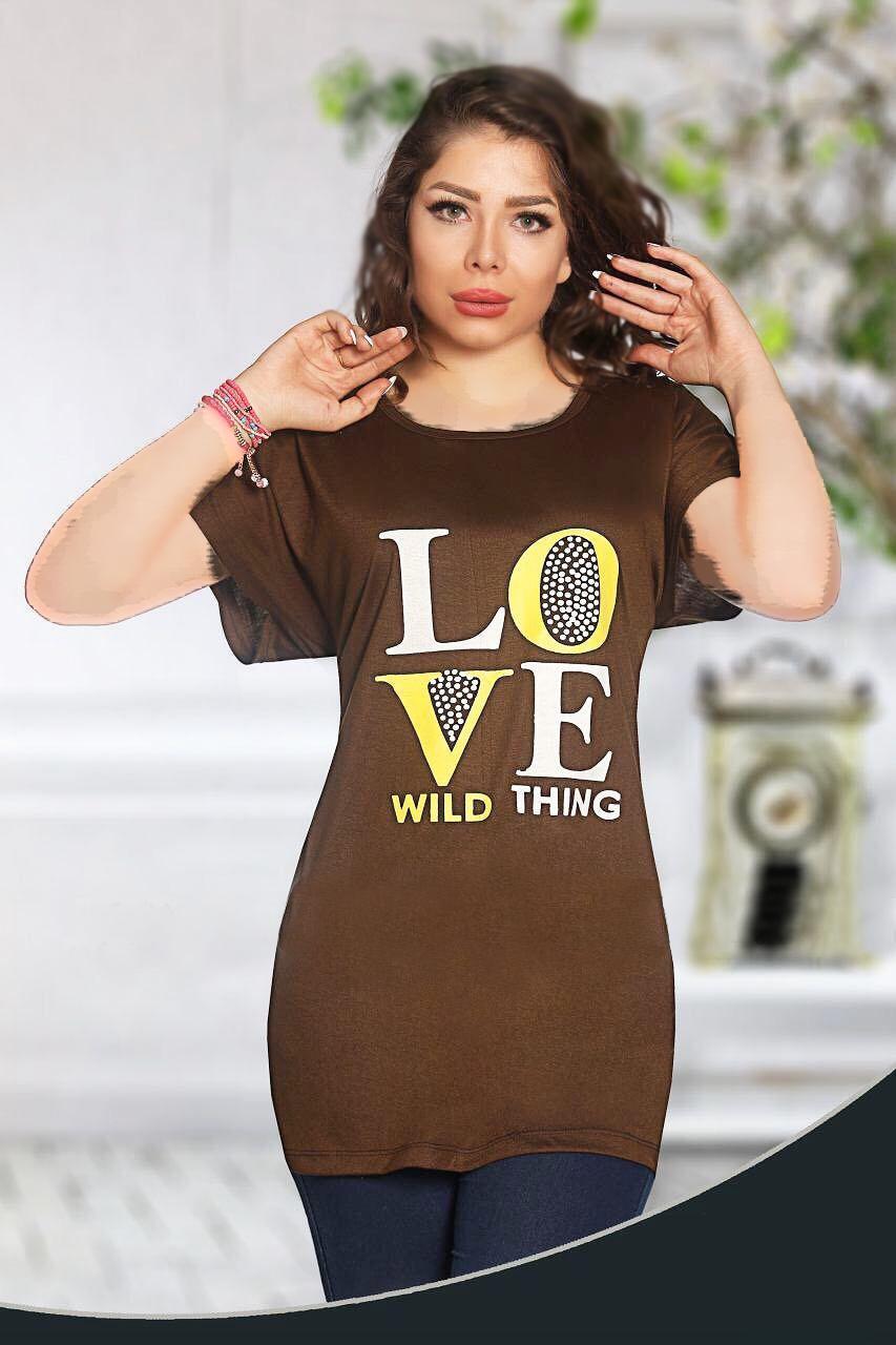 تونیک قواره بزرگ love نخی استین کوتاه سایز تا زیر باسن T-shirt - Big Tunics