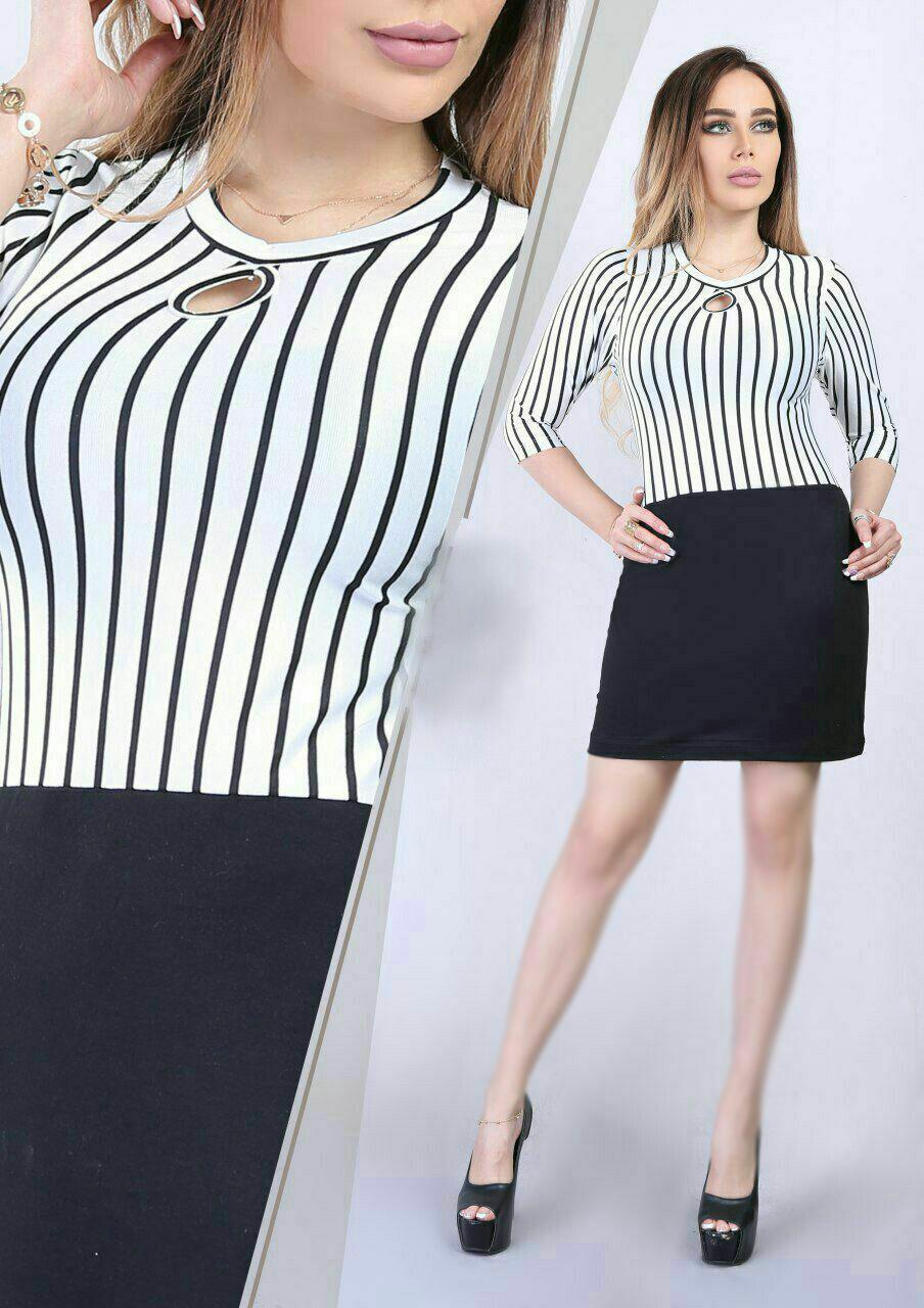 ست بلوز و دامن طرح پارچه راه راه رنگ سیاه و سفید مدل یقه اشکی