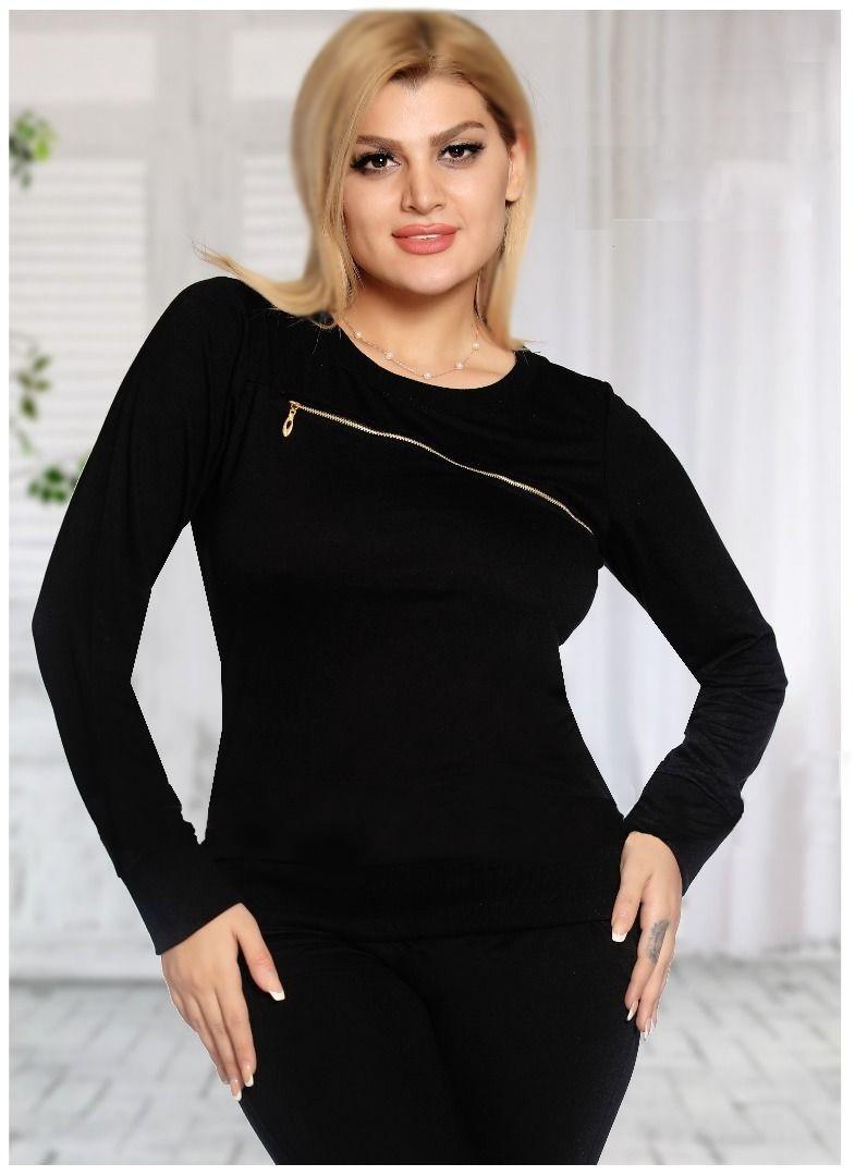 تی شرت زنانه مدل زیپی ساده استین دارWomen