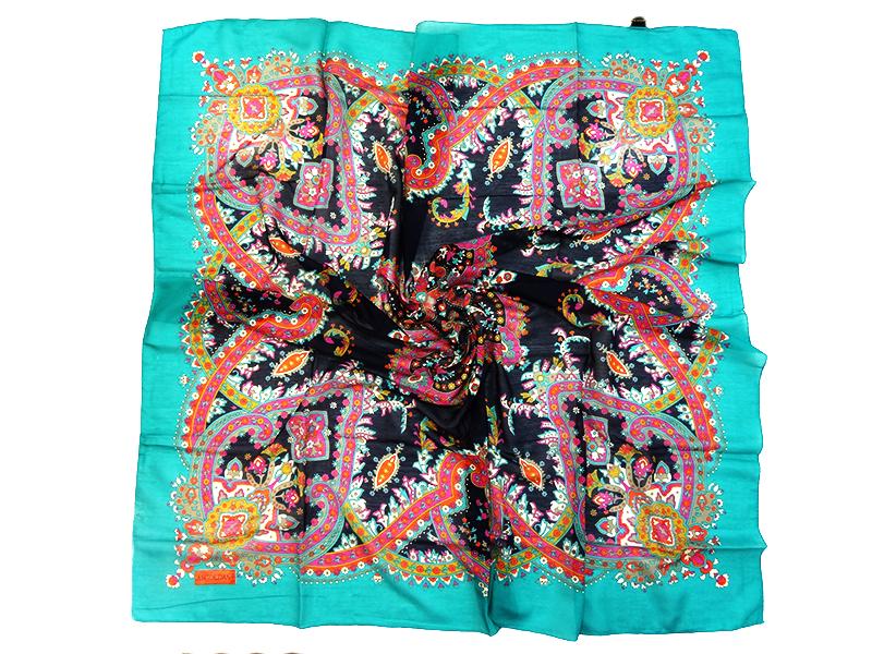 روسری نخی چهار فصل ترنج  دور دوز رنگ بندی 15020