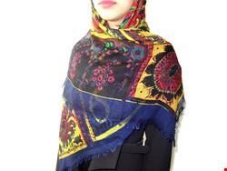 روسری چهار فصل نخی بته جقه سورمه ای 15007