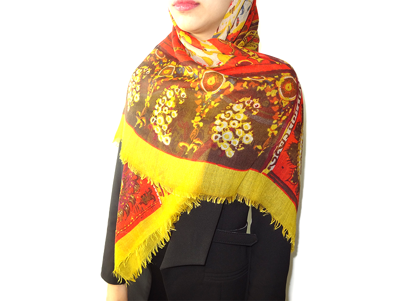 روسری چهار فصل نخی بته جقه نارنجی 15008