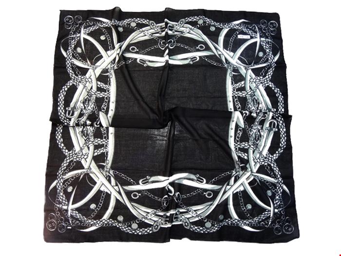 روسری نخی پائیزه میلانو طرح زنجیری 15021