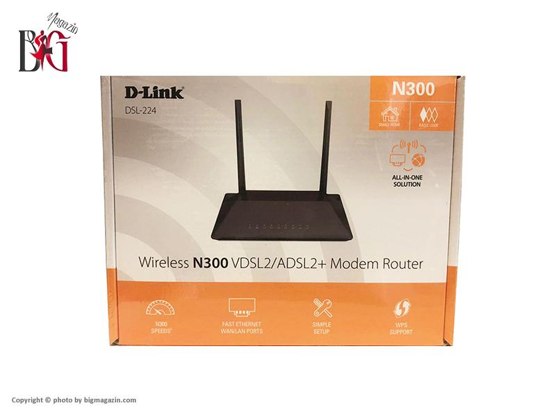 مودم روتر بی سیم دی لینک ADSL2 Plus و VDSL2 مدل DSL-224 NEW